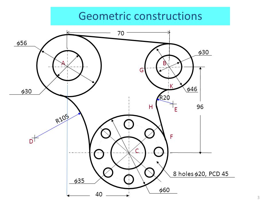 Polygons of different number of sides on same construction Similarly a hexagon of side AB can be inscribed in the circle with center 6 and radius A6 Mark points 7, 8, 9 on the perpendicular bisector such that 5-6 = 6-7 = 7-8 = 8-9 and so on A heptagon of side AB can be inscribed in the circle with center 7 and radius A7 An octagon of side AB can be inscribed in the circle with center 8 and radius A8…and so on A 4 6 P B 5 7 8 24