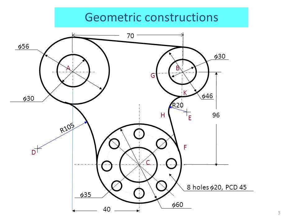 R105 AB C E G F K H D R20 96 70  56  30  46  30 3  60 8 holes  20, PCD 45  35 40 Geometric constructions