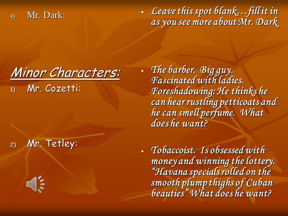 4) Mr.Dark: Minor Characters: 1) Mr. Cozetti: 2) Mr.