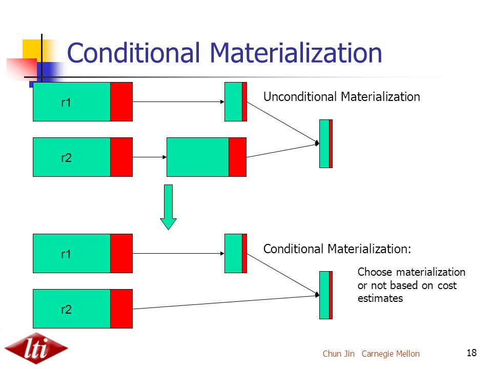 Chun Jin Carnegie Mellon 18 Conditional Materialization r2 r1 r2 r1 Unconditional Materialization Conditional Materialization: Choose materialization or not based on cost estimates