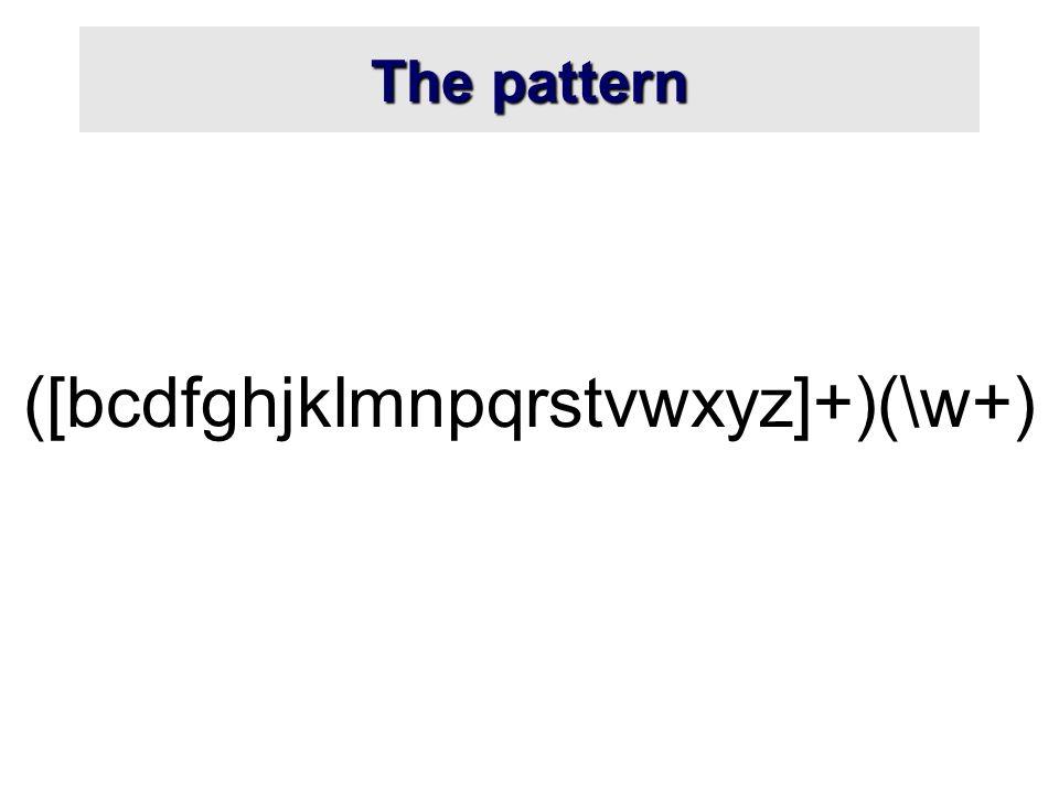 The pattern ([bcdfghjklmnpqrstvwxyz]+)(\w+)