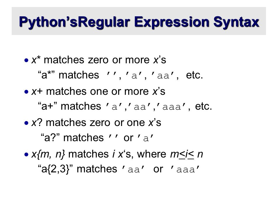 Python'sRegular Expression Syntax  x* matches zero or more x's a* matches '', 'a', 'aa', etc.