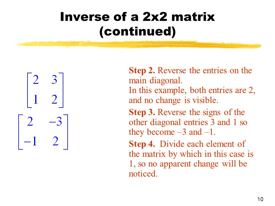 10 Inverse of a 2x2 matrix (continued) Step 2.Reverse the entries on the main diagonal.