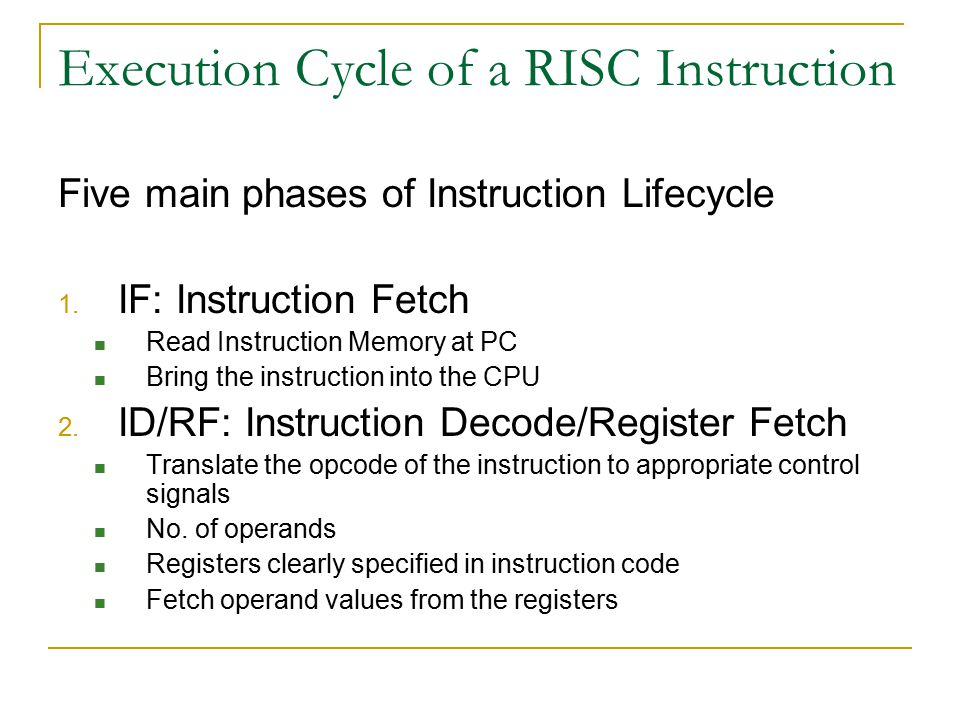 Execution Cycle of a RISC Instruction Five main phases of Instruction Lifecycle 1.