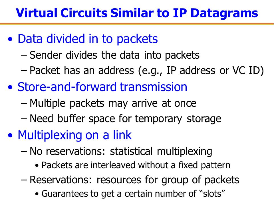 Virtual Circuits Similar to IP Datagrams Data divided in to packets –Sender divides the data into packets –Packet has an address (e.g., IP address or VC ID) Store-and-forward transmission –Multiple packets may arrive at once –Need buffer space for temporary storage Multiplexing on a link –No reservations: statistical multiplexing Packets are interleaved without a fixed pattern –Reservations: resources for group of packets Guarantees to get a certain number of slots