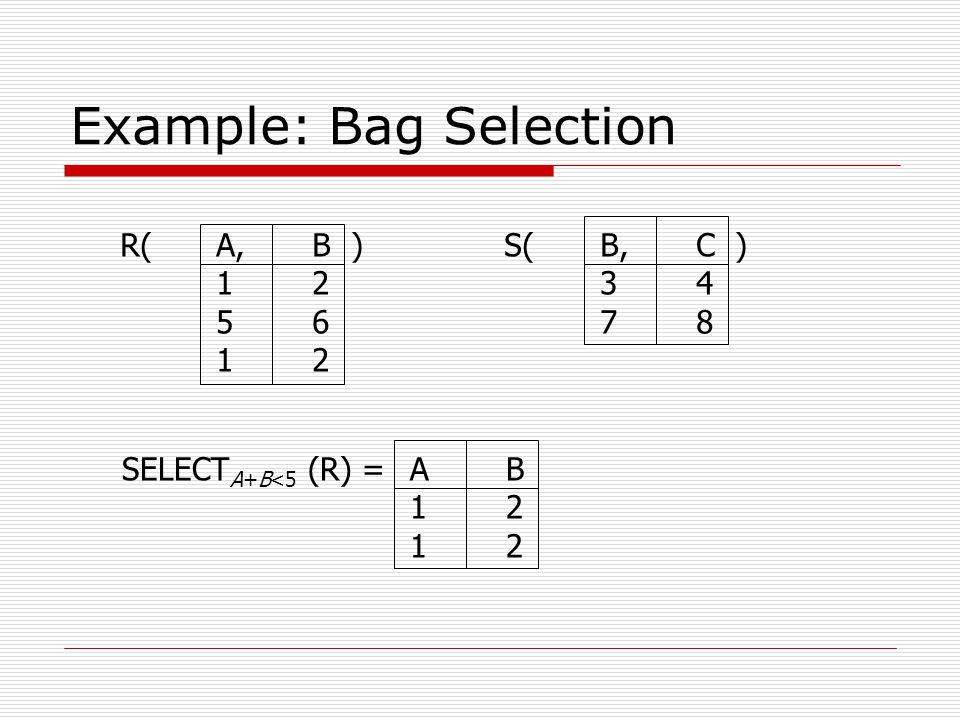 Example: Bag Selection R(A,B )S(B,C ) 1234 5678 12 SELECT A+B<5 (R) =AB 12