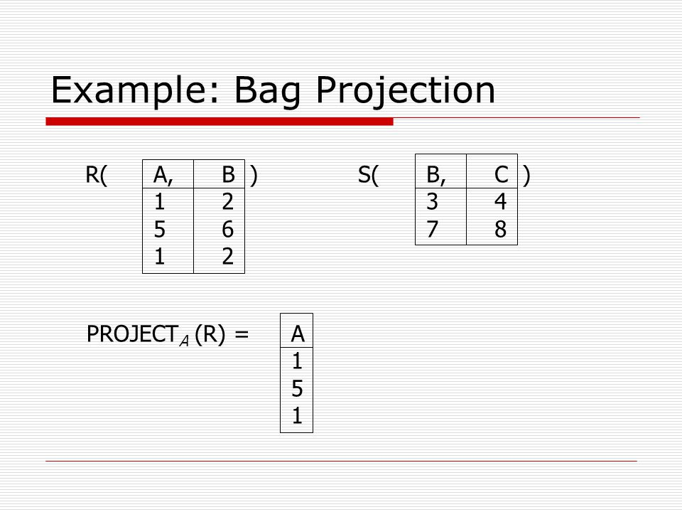 Example: Bag Projection R(A,B )S(B,C ) 1234 5678 12 PROJECT A (R) =A 1 5 1