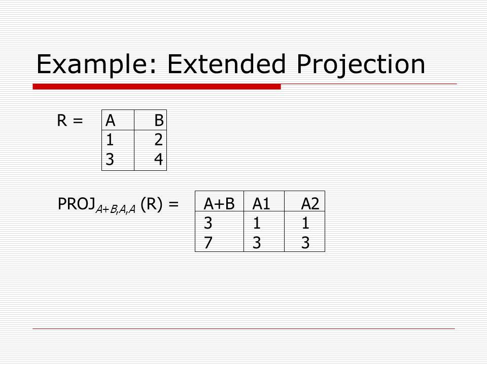 Example: Extended Projection R =AB 12 34 PROJ A+B,A,A (R) =A+BA1A2 311 733