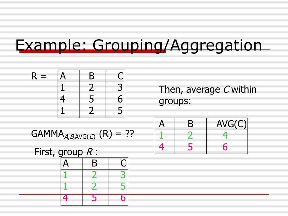 Example: Grouping/Aggregation R =ABC 123 456 125 GAMMA A,B,AVG(C) (R) = ?? First, group R : ABC 123 125 456 Then, average C within groups: ABAVG(C) 12