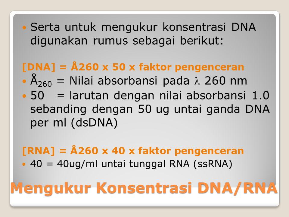 Uji Kuantitatif Uji kuantitatif DNA dengan spektrofotometri UV-Vis, DNA murni dapat menyerap cahaya ultraviolet karena keberadaan basa-basa purin dan