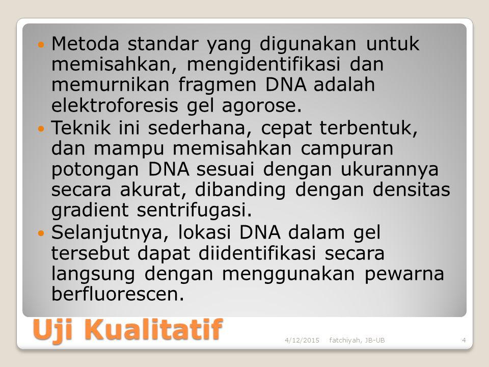 Mengukur Konsentrasi DNA/RNA Serta untuk mengukur konsentrasi DNA digunakan rumus sebagai berikut: [DNA] = Å260 x 50 x faktor pengenceran Å 260 = Nila