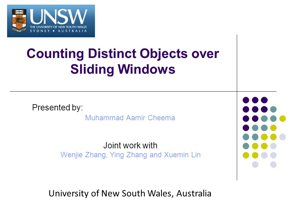 Counting Distinct Objects over Sliding Windows Presented by: Muhammad Aamir Cheema Joint work with Wenjie Zhang, Ying Zhang and Xuemin Lin University of New South Wales, Australia