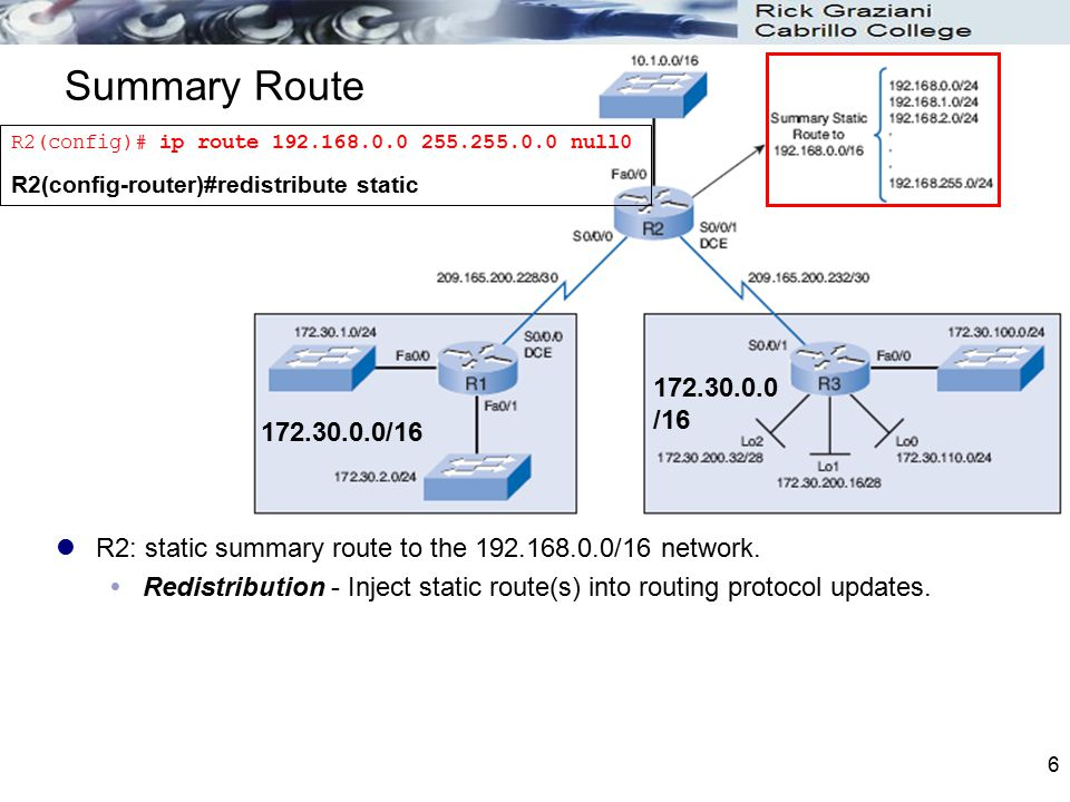 17 Examining the Routing Tables R2 has two equal-cost routes to the 172.30.0.0/16 network.