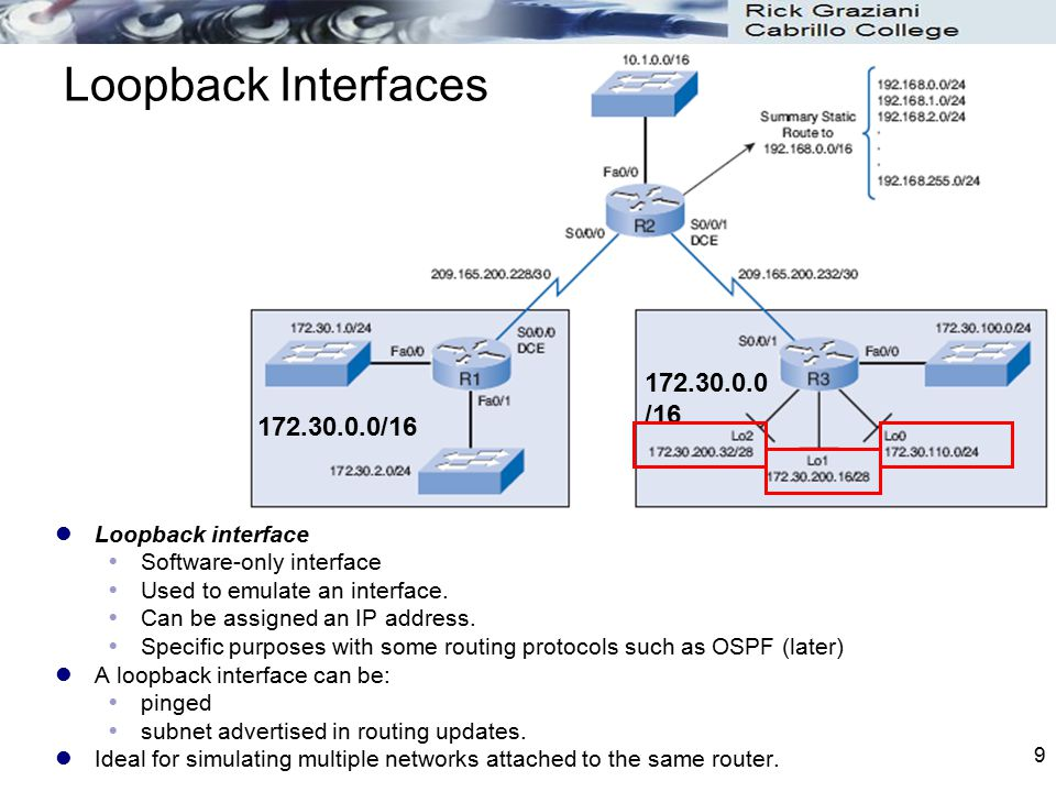 10 RIPv1 Topology Limitations RIPv1 configuration for all three routers R1(config)# router rip R1(config-router)# network 172.30.0.0 R1(config-router)# network 209.165.200.0 R2(config)# ip route 192.168.0.0 255.255.0.0 null0 R2(config)# router rip R2(config-router)# redistribute static R2(config-router)# network 10.0.0.0 R2(config-router)# network 209.165.200.0 R3(config)# router rip R3(config-router)# network 172.30.0.0 R3(config-router)# network 209.165.200.0