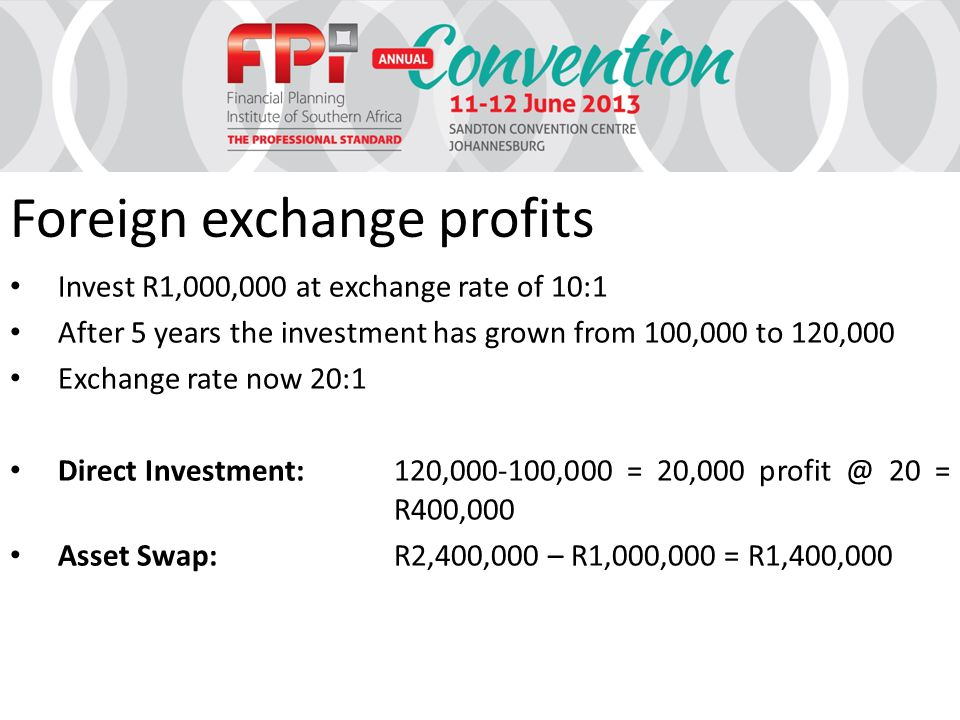 Foreign exchange profits Invest R1,000,000 at exchange rate of 10:1 After 5 years the investment has grown from 100,000 to 120,000 Exchange rate now 20:1 Direct Investment:120,000-100,000 = 20,000 profit @ 20 = R400,000 Asset Swap:R2,400,000 – R1,000,000 = R1,400,000