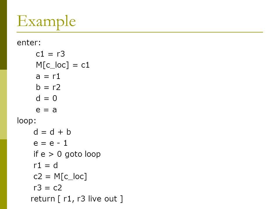 Example enter: c1 = r3 M[c_loc] = c1 a = r1 b = r2 d = 0 e = a loop: d = d + b e = e - 1 if e > 0 goto loop r1 = d c2 = M[c_loc] r3 = c2 return [ r1,