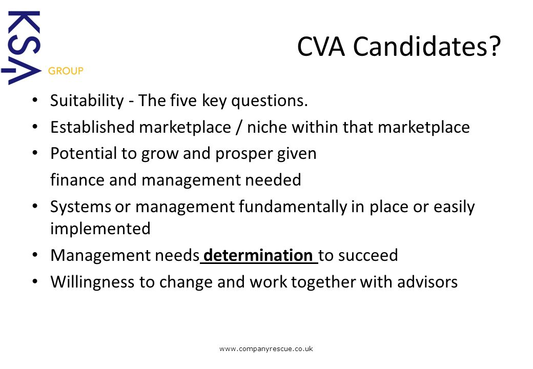 A Lifeline for Business CVA Candidates.Suitability - The five key questions.
