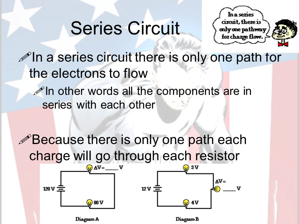 Series Circuit IIn a series circuit there is only one path for the electrons to flow IIn other words all the components are in series with each other BBecause there is only one path each charge will go through each resistor