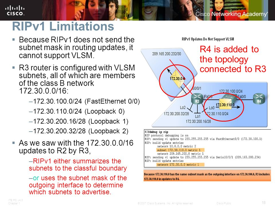 ITE PC v4.0 Chapter 1 18 © 2007 Cisco Systems, Inc. All rights reserved.Cisco Public RIPv1 Limitations  Because RIPv1 does not send the subnet mask i