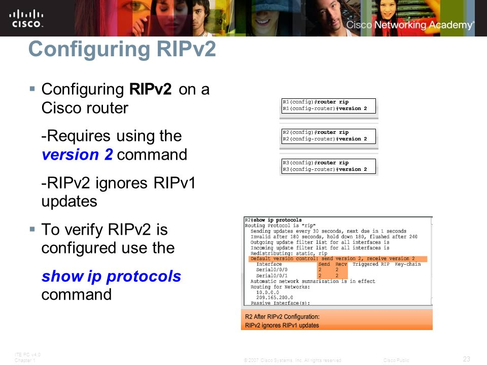 ITE PC v4.0 Chapter 1 23 © 2007 Cisco Systems, Inc. All rights reserved.Cisco Public Configuring RIPv2  Configuring RIPv2 on a Cisco router -Requires