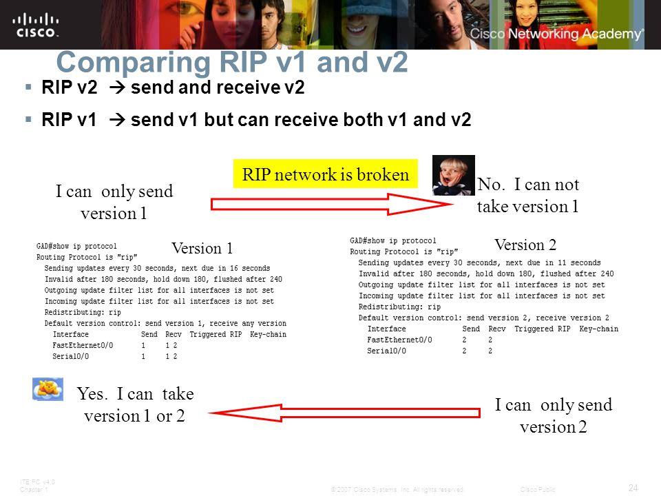 ITE PC v4.0 Chapter 1 24 © 2007 Cisco Systems, Inc. All rights reserved.Cisco Public Comparing RIP v1 and v2  RIP v2  send and receive v2  RIP v1 