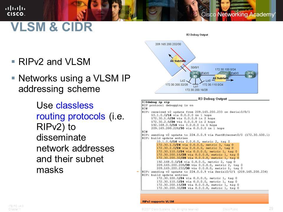 ITE PC v4.0 Chapter 1 29 © 2007 Cisco Systems, Inc. All rights reserved.Cisco Public VLSM & CIDR  RIPv2 and VLSM  Networks using a VLSM IP addressin
