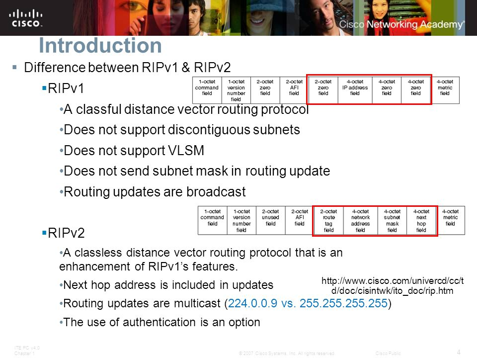 ITE PC v4.0 Chapter 1 4 © 2007 Cisco Systems, Inc. All rights reserved.Cisco Public Introduction  Difference between RIPv1 & RIPv2  RIPv1 A classful