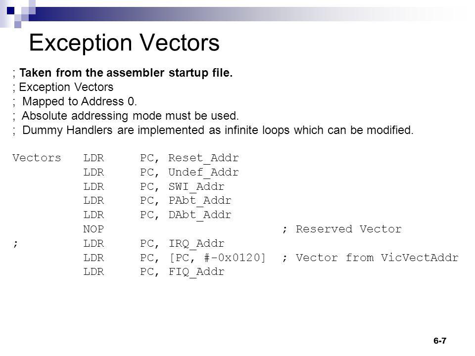 IRQ Vectored IRQ process 6-18 Priority encoder Vector Address Vec 0 Vec 1 Vec 2 Vec 3 Vec 4 ….