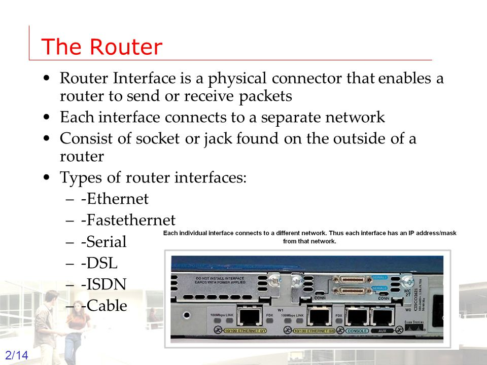2003-2004 - Information management 2 Groep T Leuven – Information department 2/14 The Router Router Interface is a physical connector that enables a r