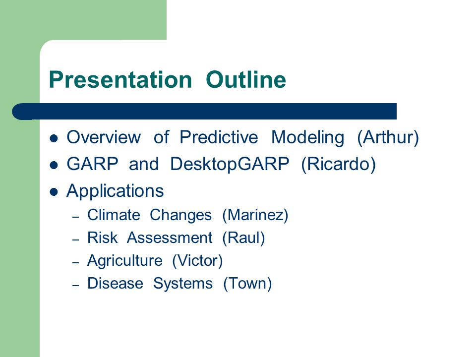 Geography Ecology Predictive Modeling Methodology Occurrence Points Algorithm Precipitation Temperature Ecological Niche Model Native Predicted Range Predicted Distribution After Climate Changes Projection Over Changed Climate Invasive Potential Projection Onto Another Region Slilde by Town Peterson