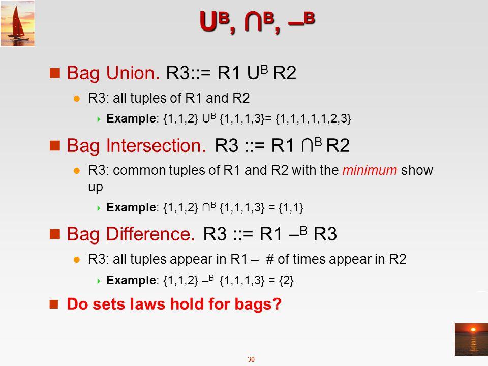 30 U B, ∩ B, – B Bag Union.