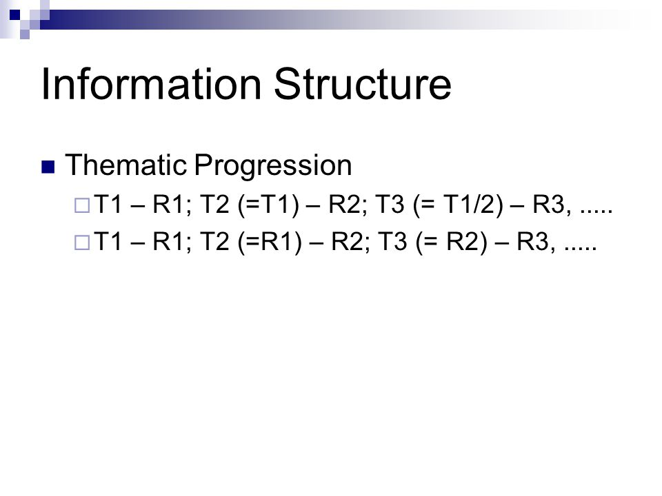 Information Structure Thematic Progression  T1 – R1; T2 (=T1) – R2; T3 (= T1/2) – R3,.....