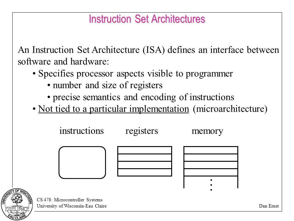 CS 478: Microcontroller Systems University of Wisconsin-Eau Claire Dan Ernst Instruction Set Architectures An Instruction Set Architecture (ISA) defin