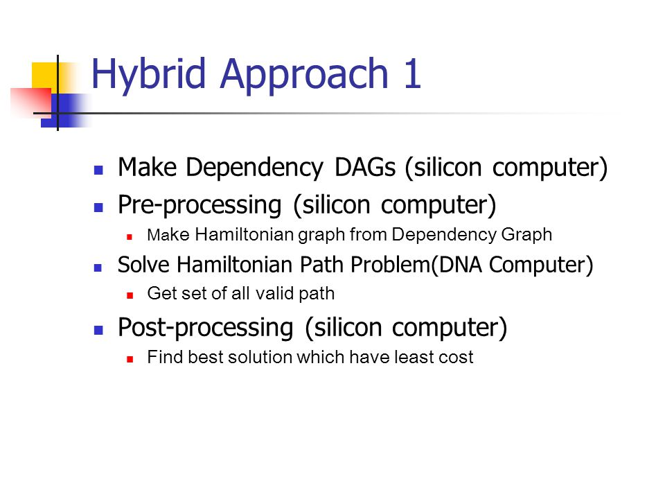 Hybrid Approach 1 Make Dependency DAGs (silicon computer) Pre-processing (silicon computer) Ma ke Hamiltonian graph from Dependency Graph Solve Hamilt