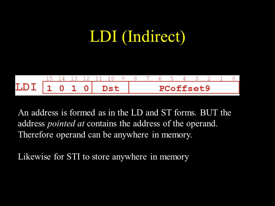 LDI (Indirect) An address is formed as in the LD and ST forms.