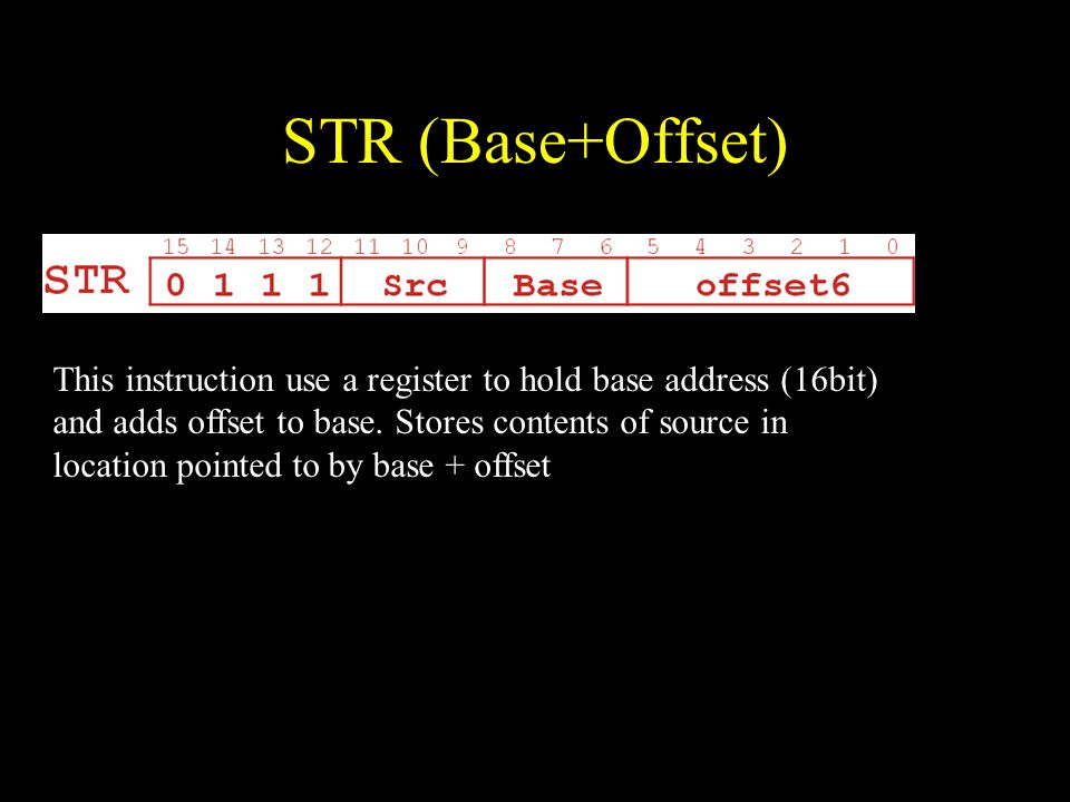 STR (Base+Offset) This instruction use a register to hold base address (16bit) and adds offset to base.