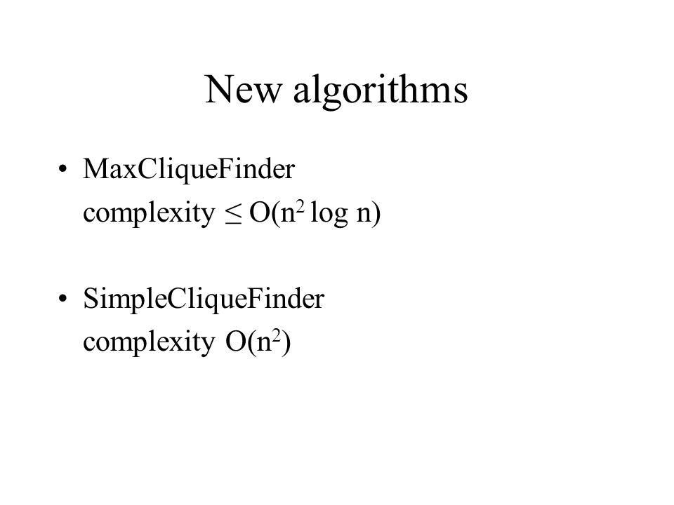 New algorithms MaxCliqueFinder complexity ≤ O(n 2 log n) SimpleCliqueFinder complexity O(n 2 )