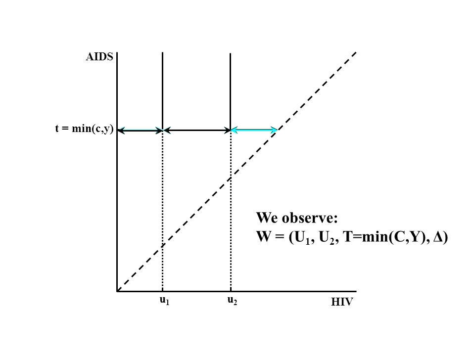 HIV AIDS u1u1 u2u2 We observe: W = (U 1, U 2, T=min(C,Y), Δ)