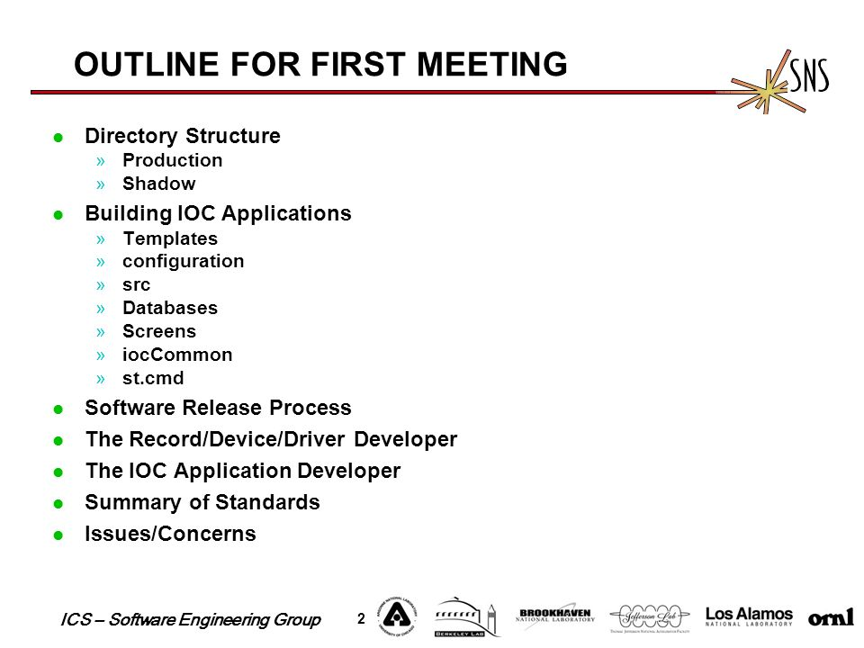ICS – Software Engineering Group 2 OUTLINE FOR FIRST MEETING Directory Structure »Production »Shadow Building IOC Applications »Templates »configurati