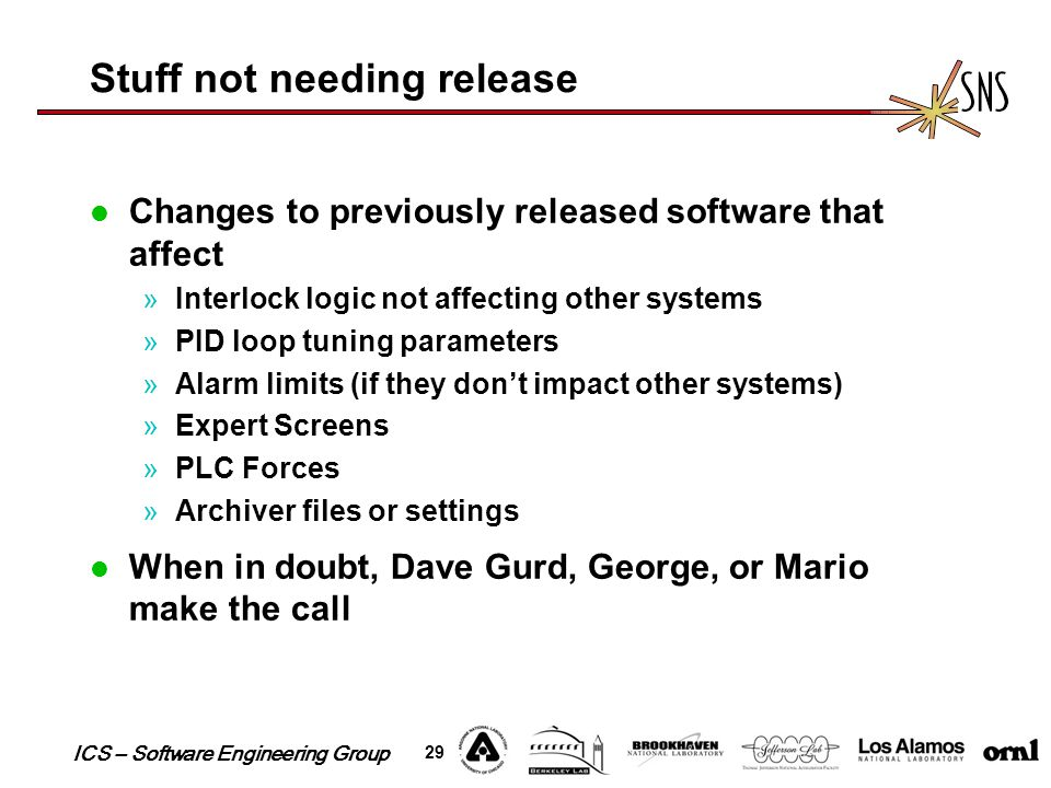ICS – Software Engineering Group 29 Stuff not needing release Changes to previously released software that affect »Interlock logic not affecting other