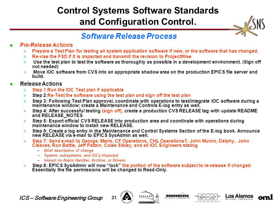 ICS – Software Engineering Group 31 Control Systems Software Standards and Configuration Control. Pre-Release Actions »Prepare a Test Plan for testing