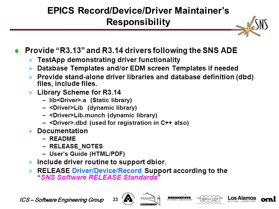 "ICS – Software Engineering Group 33 Provide ""R3.13"" and R3.14 drivers following the SNS ADE »TestApp demonstrating driver functionality »Database Temp"