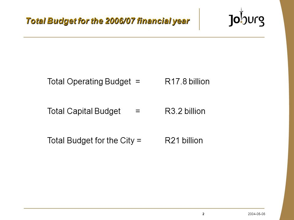 22004-05-06 Total Budget for the 2006/07 financial year Total Operating Budget =R17.8 billion Total Capital Budget =R3.2 billion Total Budget for the City = R21 billion