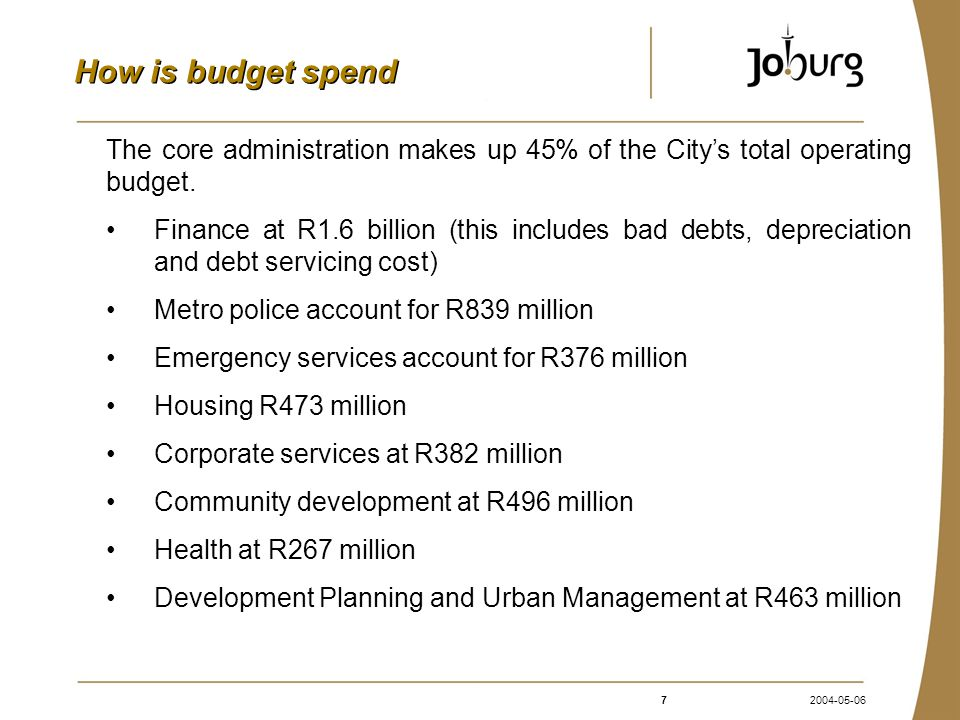 72004-05-06 How is budget spend The core administration makes up 45% of the City's total operating budget.