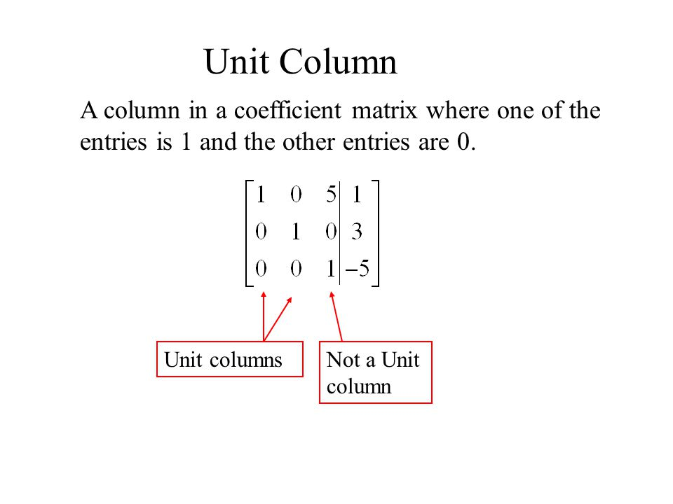 Unit Column A column in a coefficient matrix where one of the entries is 1 and the other entries are 0.