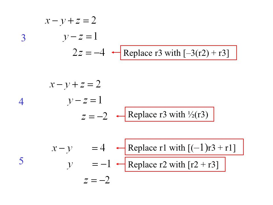 4 5 3 Replace r3 with [–3(r2) + r3] Replace r3 with ½(r3) Replace r2 with [r2 + r3] Replace r1 with [( –1) r3 + r1]