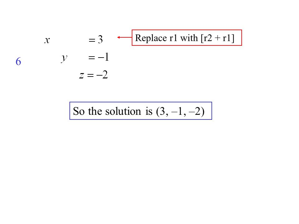 So the solution is (3, –1, –2) 6 Replace r1 with [r2 + r1]