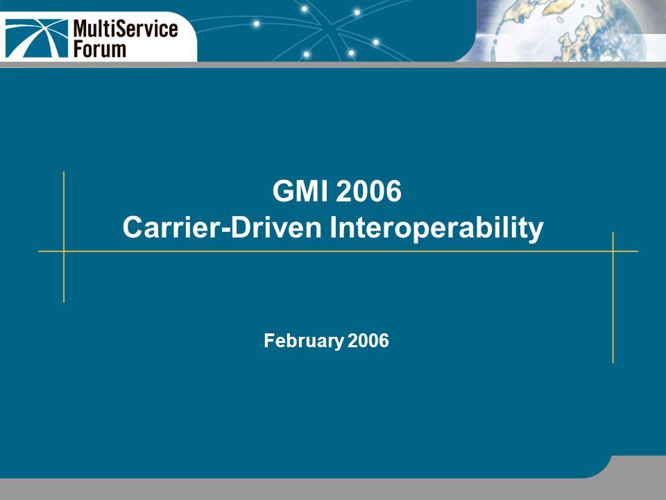 Copyright 2006: MultiService Forum 12 GMI 2006 Physical Scenarios Scenario 1 - Single Domain with nomadic subscribers.