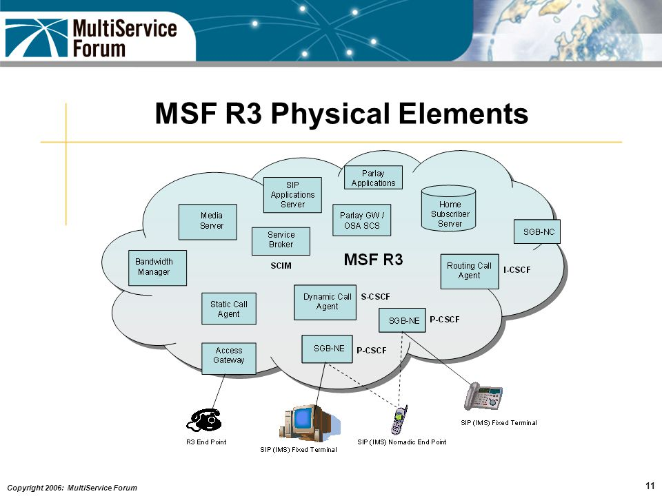 Copyright 2006: MultiService Forum 11 MSF R3 Physical Elements
