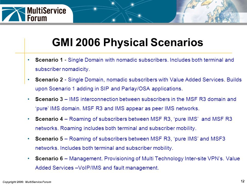 Copyright 2006: MultiService Forum 12 GMI 2006 Physical Scenarios Scenario 1 - Single Domain with nomadic subscribers.
